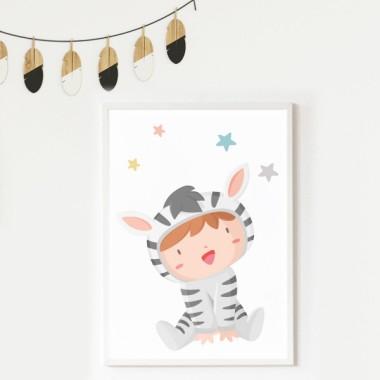 Lámina decorativa de pared - Bebé disfrazado de cebra