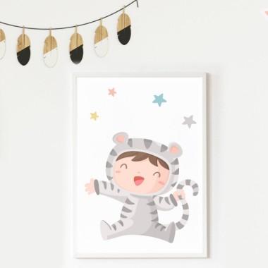 Toiles décoration enfant - Bebé déguisé en tigre