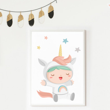 Lámina decorativa de pared - Bebé disfrazado de unicornio