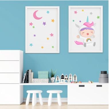 Pack de 2 láminas decorativas - Bebé disfrazado de unicornio