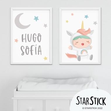 Lot de 2 toiles déco - Bebé déguisé en licorne