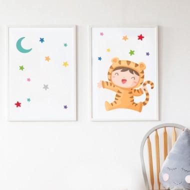 Pack de 2 láminas decorativas - Bebé disfrazado de tigre