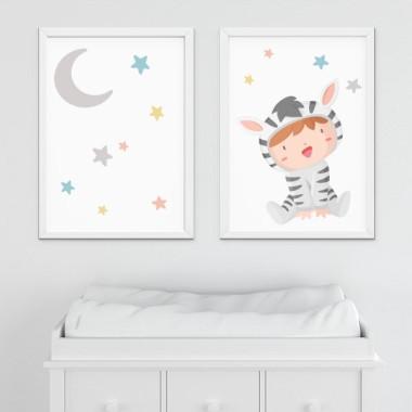 Pack de 2 làmines decoratives - Nadó disfressat de zebra