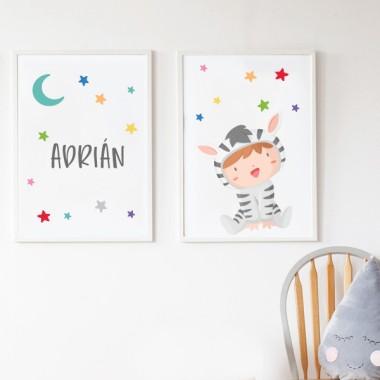Pack de 2 láminas decorativas - Bebé disfrazado de cebra