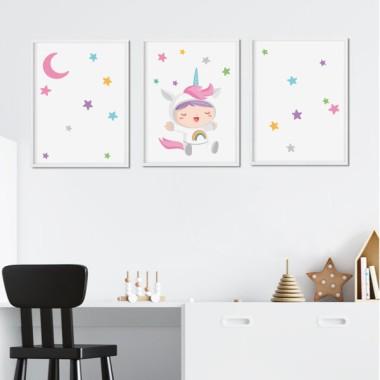 Pack de 3 làmines infantils - Nadó disfressat d'unicorn