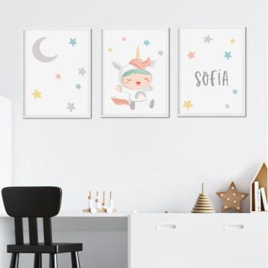 Lot de 3 affiche  pour enfants - Bebé déguisé en licorn