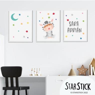 Pack de 3 láminas infantiles - Bebé disfrazado de cebra
