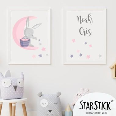 Pack de 2 làmines decoratives - Conillet a la lluna repartint estrelles