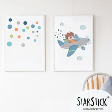 Lot de 2 affiche chambre enfant - Avion avec des confettis