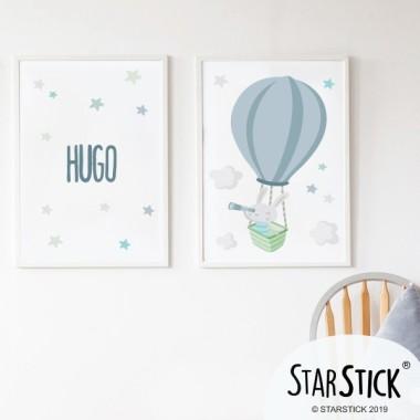 Pack de 2 láminas decorativas - Conejito explorador en globo
