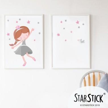 Lot de 2 affiche chambre enfant - Princesse