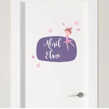 Bailarina - Vinilos decorativos con nombre Vinilos para puertas Vinilo de puerta con una bailarina, personalizable con uno o dos nombres. Se puede combinar con el vinilo de pared de la bailarina, el medidor, bolas de luz... Crea tu propia combinación y disfruta de una decoración excepcional. Tamaño de la lámina y montaje 1 nombre: 30x20 cm 2 nombres: 30x27 cm vinilos infantiles y bebé Starstick