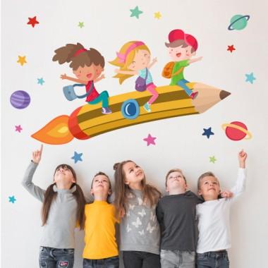 Crayon scolaire avec des garçons et des filles - Stickers muraux pour les écoles