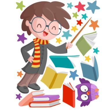 Harry Potter - Sticker enfants Stickers enfants Les tailles (largeur x hauteur) Basique:75x40 cmPetit:110x65 cmMoyen:150x75cmGrand:210x100 cmGéant:290x150 cm  AJOUTER UN NOM AU VINYLE À PARTIR DE 9,99 € vinilos infantiles y bebé Starstick