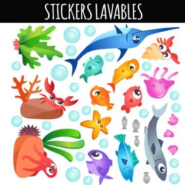 Peces de colores bajo del mar - Vinilos lavables