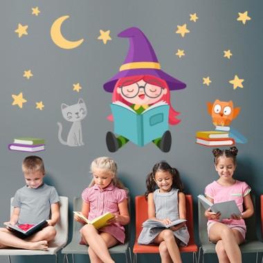 Sticker enfants - Lecture de la petite sorcière