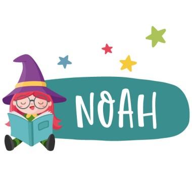 Lecture de la petite sorcière - Sticker porte nom