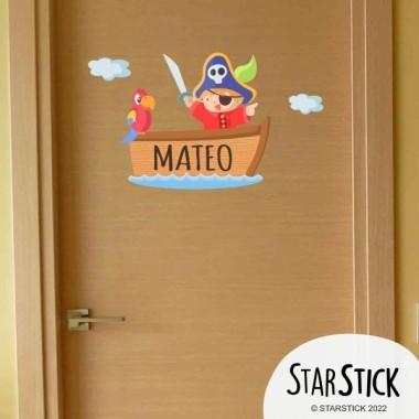 Pirate Ship - Sticker nom de porte Stickers porte chambre Taillede la feuille/montage 1 prénom: 30x27 cm 2 prénoms: 30x31 cm  vinilos infantiles y bebé Starstick