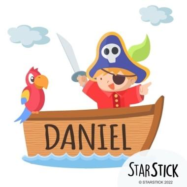 Barquita pirata - Nombre para puertas Vinilo infantil