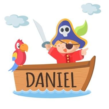 Boot pirat - Name für türen Wandtatoo für kinder