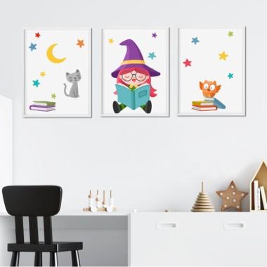 Lot de 3 affiche  pour enfants - Lecture de la petite sorcière
