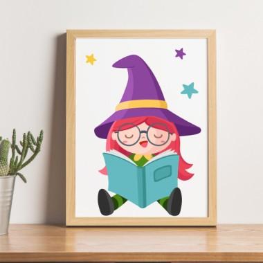Toiles décoration enfant - Lecture de la petite sorcière