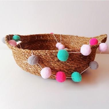 Guirlande décorative - Boules de feutre combinaison rose gris