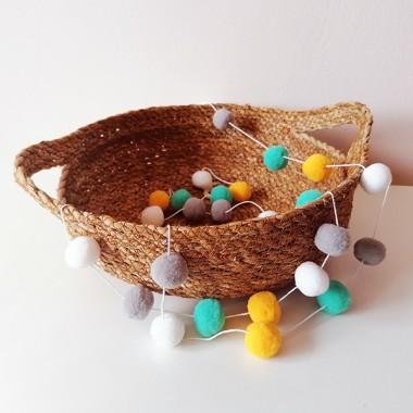 Guirlande décorative - Boules de feutre combinaison moutarde