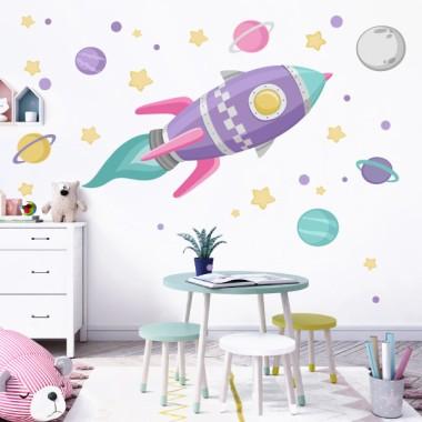 Vinilo infantil - Cohete en el espacio - Lila