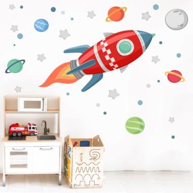 Vinils infantils - Coet a l'espai - Vermell