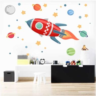 Fusée dans l'espace - Sticker muraux - Rouge