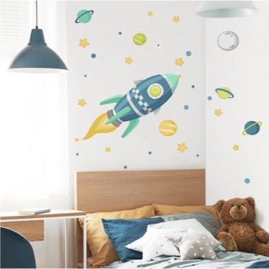 Vinilo infantil - Cohete en el espacio - Azul