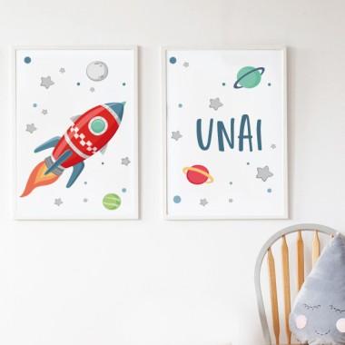 Lot de 2 affiche chambre enfant - Fusée dans l'espace