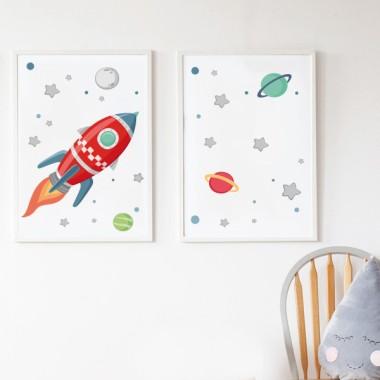 Pack de 2 láminas decorativas - Cohete en el espacio
