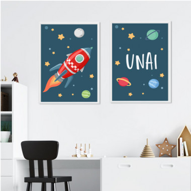 Lot de 2 affiche chambre enfant - Fusée dans l'espace. Bleu
