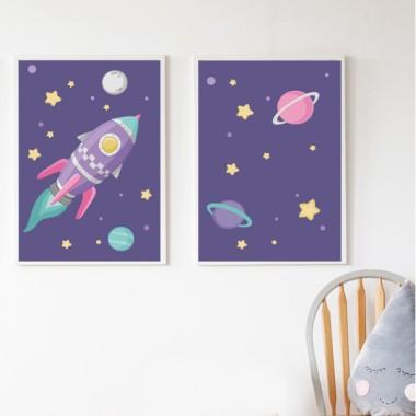 Pack de 2 láminas decorativas - Cohete lila en el espacio. Fondo lila