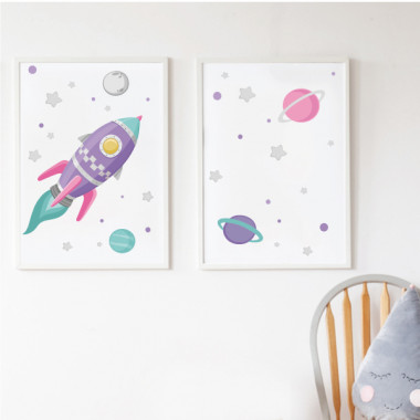 Pack de 2 láminas decorativas - Cohete lila en el espacio