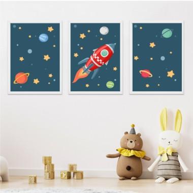 Lot de 3 affiche  pour enfants - Fusée dans l'espace. Bleu