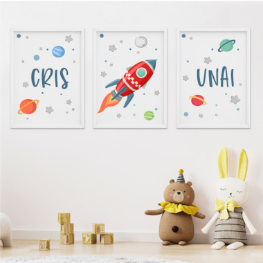 Pack de 3 láminas infantiles - Cohete en el espacio
