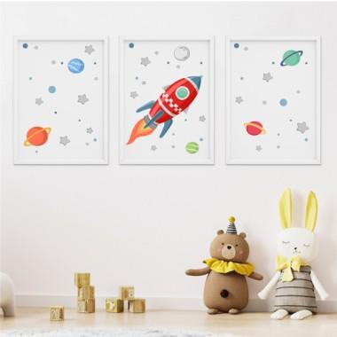 Lot de 3 affiche  pour enfants - Fusée dans l'espace