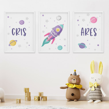 Lot de 3 affiche  pour enfants - Fusée lilas dans l'espace