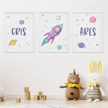 Pack de 3 láminas infantiles - Cohete lila en el espacio