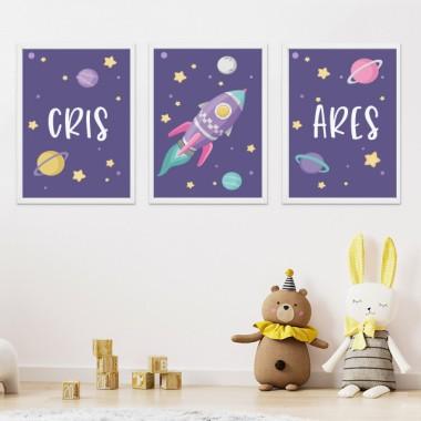 Lot de 3 affiche  pour enfants - Fusée lilas dans l'espace. Lilas
