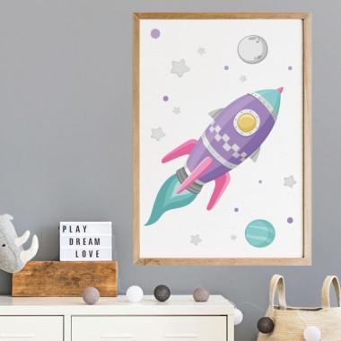 Toiles décoration enfant - Fusée lilas dans l'espace