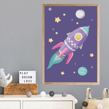 Lámina decorativa de pared - Cohete lila en el espacio. Fondo lila