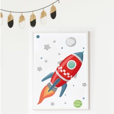 Lámina decorativa de pared - Cohete en el espacio
