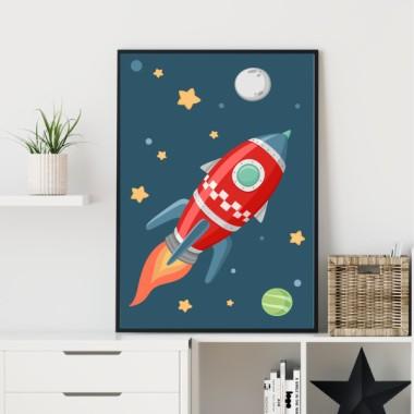 Lámina decorativa de pared - Cohete en el espacio. Fondo azul