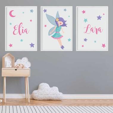 Lot de 3 affiche  pour enfants - Fée magique