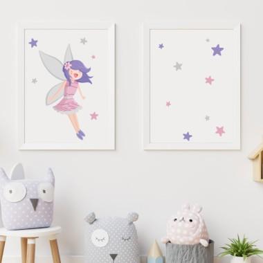 Lot de 2 affiche chambre enfant - Fée magique