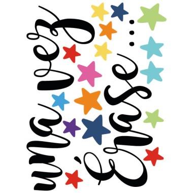Il était une fois - Stickers phrase Décoration scolaire Dimensions approximatives (largeur x hauteur) Basique:40x30 cm Petit:140x90cm Moyen:200x125cm Grand:250x170cm  vinilos infantiles y bebé Starstick